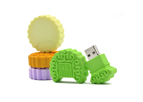 2D / 3D Custom Moon Cake Design Rubber USB Flash Drive for Mid-autumn Festival